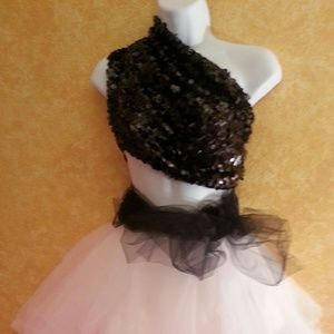 CUSTOM ORDER - BLACK SEQUIN WHITE TULLE TUTU SET